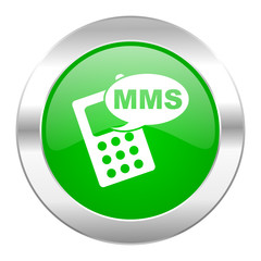 mms green circle chrome web icon isolated