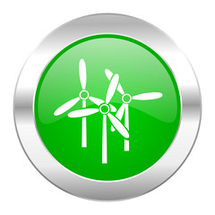 windmill green circle chrome web icon isolated