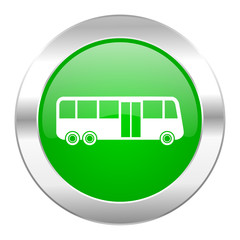 bus green circle chrome web icon isolated