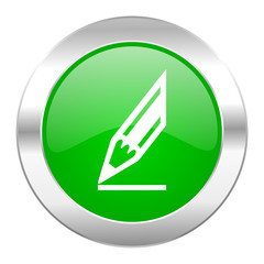 pencil green circle chrome web icon isolated