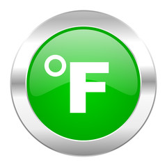 fahrenheit green circle chrome web icon isolated