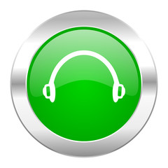 headphones green circle chrome web icon isolated
