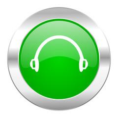 headphones green circle chrome web icon isolated