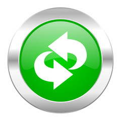 rotation green circle chrome web icon isolated