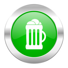 beer green circle chrome web icon isolated