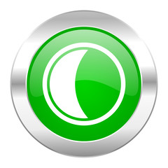moon green circle chrome web icon isolated