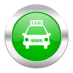 taxi green circle chrome web icon isolated