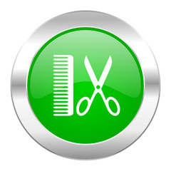 barber green circle chrome web icon isolated