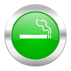 cigarette green circle chrome web icon isolated