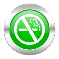 no smoking green circle chrome web icon isolated