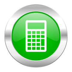 calculator green circle chrome web icon isolated