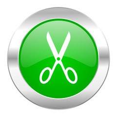 scissors green circle chrome web icon isolated