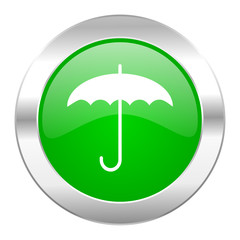 umbrella green circle chrome web icon isolated