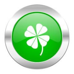 four-leaf clover green circle chrome web icon isolated