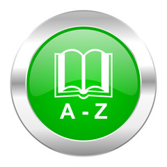 dictionary green circle chrome web icon isolated