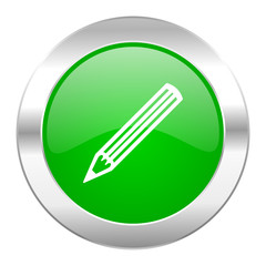 pencil green circle chrome web icon isolated