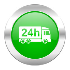 delivery green circle chrome web icon isolated