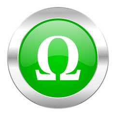 omega green circle chrome web icon isolated