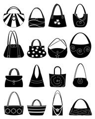 Ladies handbag icons set