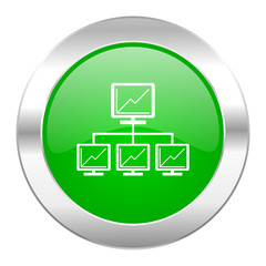 network green circle chrome web icon isolated