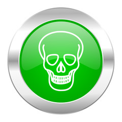 skull green circle chrome web icon isolated