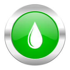 water drop green circle chrome web icon isolated