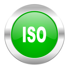 iso green circle chrome web icon isolated