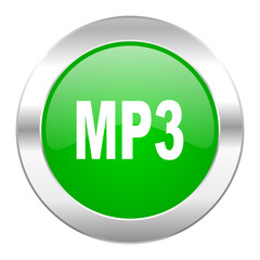 mp3 green circle chrome web icon isolated