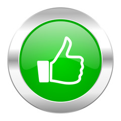 like green circle chrome web icon isolated