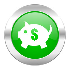piggy bank green circle chrome web icon isolated