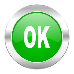 ok green circle chrome web icon isolated