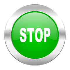 stop green circle chrome web icon isolated