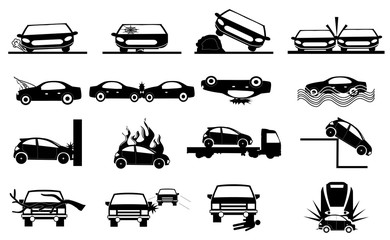 Car accident icons set