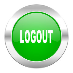 logout green circle chrome web icon isolated