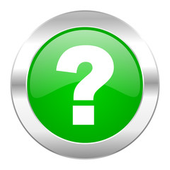 question mark green circle chrome web icon isolated