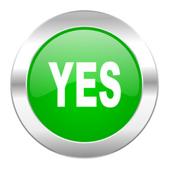 yes green circle chrome web icon isolated