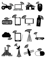 Wireless communication network icon set