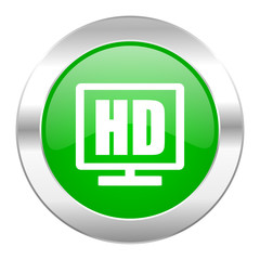 hd display green circle chrome web icon isolated