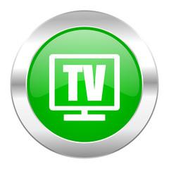 tv green circle chrome web icon isolated