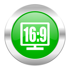 16 9 display green circle chrome web icon isolated