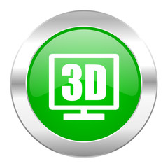 3d display green circle chrome web icon isolated