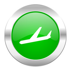 arrivals green circle chrome web icon isolated