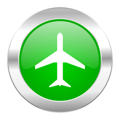 plane green circle chrome web icon isolated