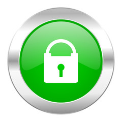 padlock green circle chrome web icon isolated