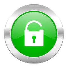 padlock green circle chrome web icon isolated