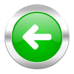 left arrow green circle chrome web icon isolated