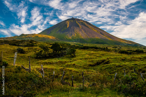 Evening sun gracing Pico on the island of Pico-Azores-Portugal. - 71535523