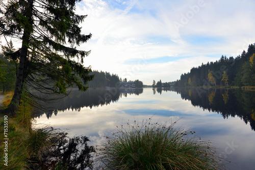 canvas print picture See im Herbst und Nebel