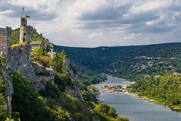 Aiguèze Alongside canyon of Ardeche river in France.
