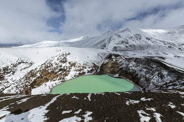Giant volcano Askja offers a view at two crater lakes. The